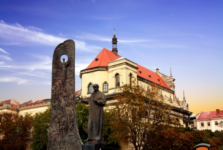 national poet: Monument to Taras Shevchenko in the historical centre of the Lvov city Editorial