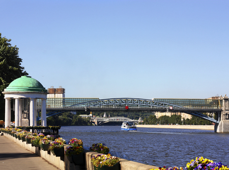 entrance arbor: Arbor on the embankment of the Moscow River in summer