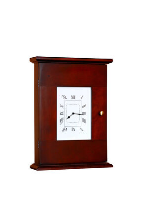 Home desk clock in a brown wooden case and roman numerals photo