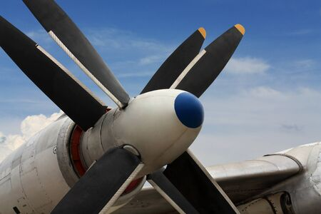 turboprop: Four-bladed turboprop engine of the russian strategic bomber Tu-95 Stock Photo
