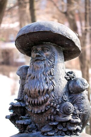 Bronze sculpture of the old Russian epic theme  Mushrooms with eyes  photo