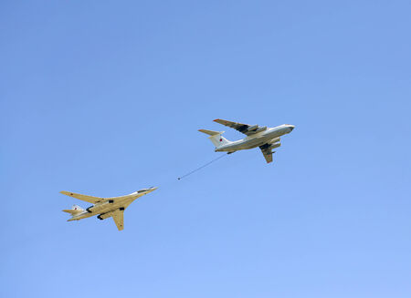 Refueling of russian strategic bomber tu 160 by the il 76 tanker