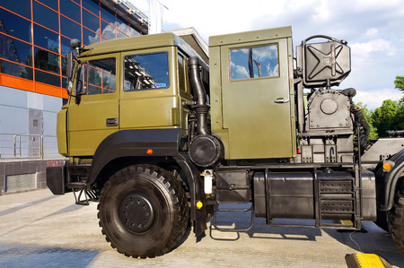 Heavy army truck with a device for trailer docking  Stock Photo