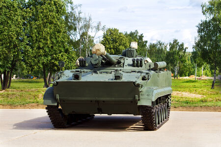 Infantry combat vehicles on the parking place photo
