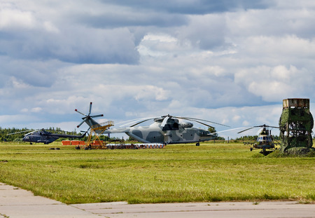 Modern russian military transport helicopters  on the parking place photo