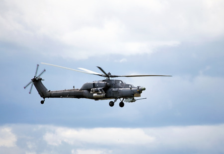 mi: Perform  flight by the modern russian attack helicopter Mi 28