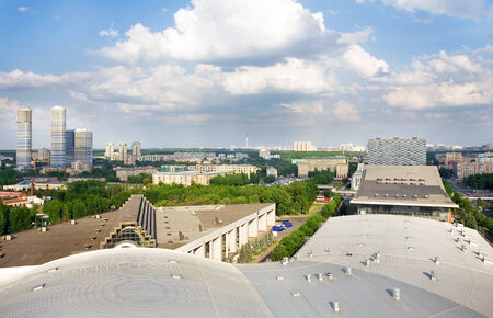 birdseye view: Moscow,  birds-eye view of the city with the park area Stock Photo