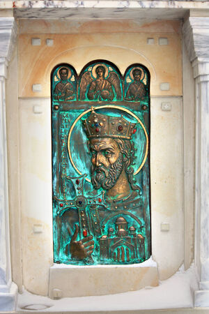 cathedrals: Bas-relief at the orthodox cathedrals wall