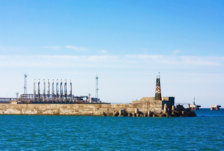 Marine cargo terminals port with the oil, chemical and freight facilities