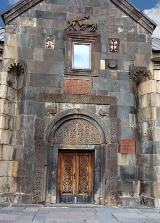 armenian: Front and entrance door  to the ancient armenian temple