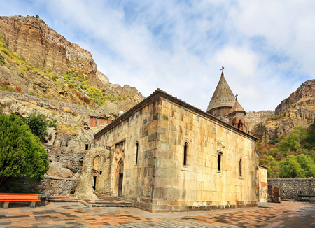 Ancient monastery in the mountains. View of the church of the thirteenth century Stock Photo