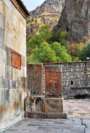 apostolic: Armenian architectural monuments, which are stone steles with carved image of the cross Stock Photo