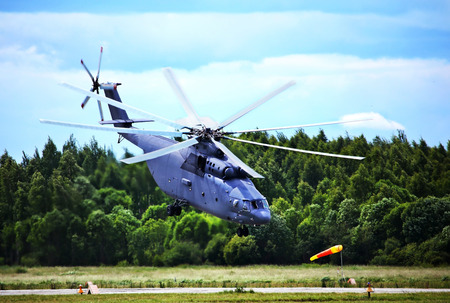 Modern russian transport helicopter taking off