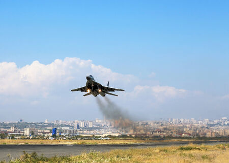 altitude: Modern russian fighter  gaining altitude after takeoff
