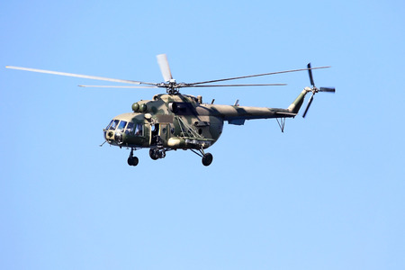 Modern russian military transport helicopter in flight