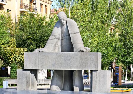 prominent: Sculpture of the prominent armenian architect Alexander Tamanyan bent over drawings Stock Photo