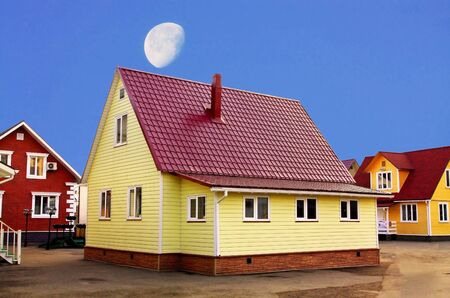Cottage constructions  ??of light materials as suburban housing photo