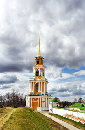 rampart: View of  belfry behind a rampart of the Ryazan Kremlin