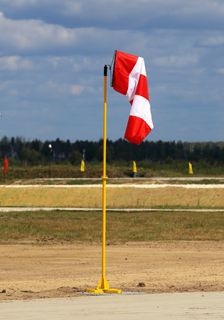 approximate: Cone-windsock designed to indicate the direction and approximate wind speed. Mainly used in aviation Stock Photo