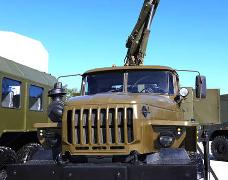 forepart: Front view of heavy army truck Stock Photo