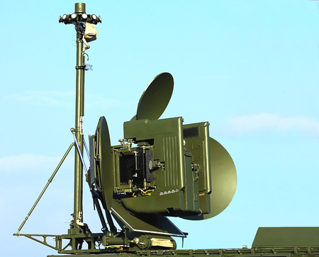 suppression: Antenna of rhe ground module for electronic suppression  with the main and side lobes Stock Photo