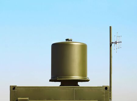 complex navigation: Antenna of a new generation of ground-based short-range navigation complex, working with avionics systems, which also operate on an international band Stock Photo