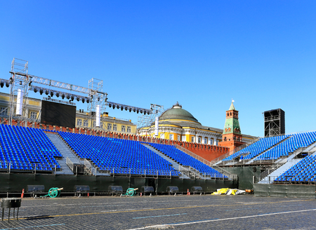 spectator: Spectator tribunes and scenery on the Red Square in Moscow in preparation for the festival