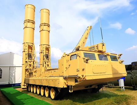 armaments: Russian anti-aircraft missile system  � 300   is large and medium-range air defense missile system Stock Photo
