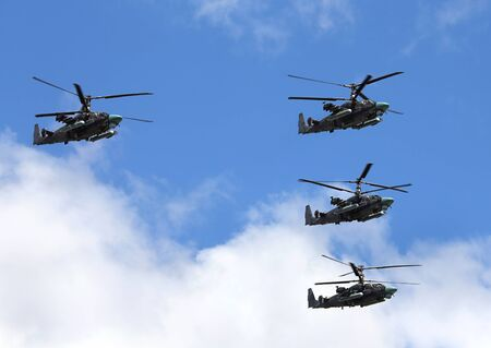 KA: Perform  flight by the modern russian attack helicopter Ka 52 Editorial