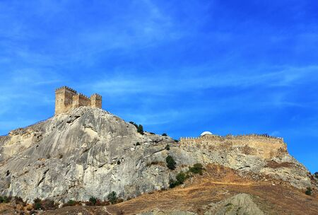large rock: Detail of the ancient citadel of the seventh century on a large rock Stock Photo