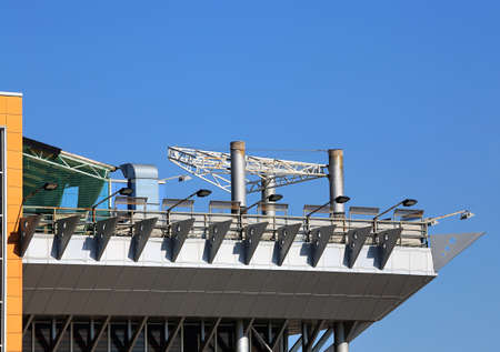 constructs: Structural constructs of steel elements on an industrial building Stock Photo