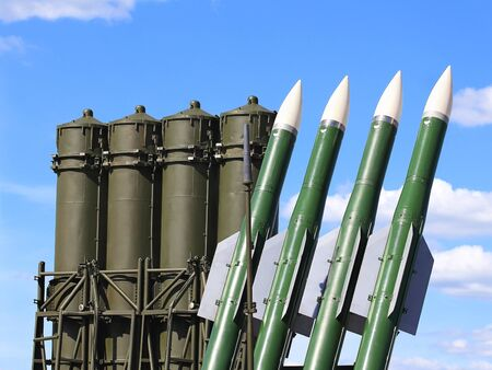 armaments: Russian anti-aircraft missiles of the large and medium-range air defense systems  of two generations Stock Photo