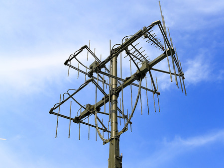 airwaves: Antenna of the military field radio communication complex  on the mast