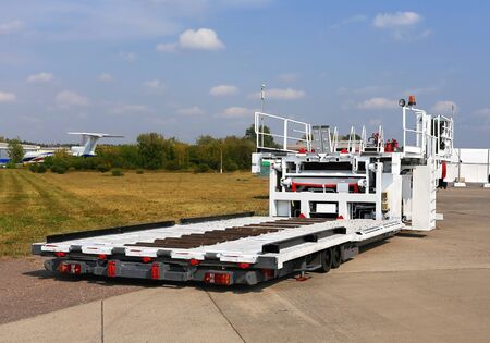 airfield: Airfield self-propelled platform for loading and unloading of aircraft Stock Photo