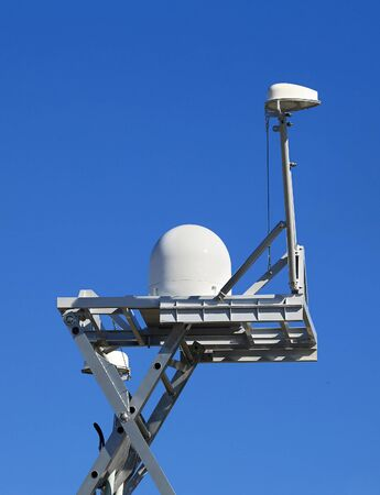 Spherical antenna of the mobile point for collecting and processing information Stock Photo