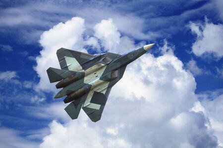 modern fighter: Modern russian fighter  flying in a cloudy sky
