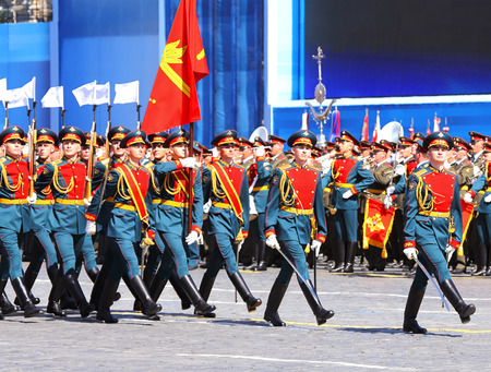 solemn: MOSCOW - MAI 7: Parade formation in solemn march on Red Square - on Mai 7, 2015 in Moscow