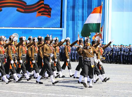 solemn: MOSCOW - MAI 7: Indian parade formation in solemn march on Red Square - on Mai 7, 2015 in Moscow Editorial