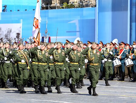 troops: MOSCOW - MAI 7: Troops in military uniform of World War II in solemn march on Red Square - on Mai 7, 2015 in Moscow