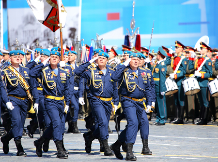 solemn: MOSCOW - MAI 7: Paratroops in solemn march on Red Square - on Mai 7, 2015 in Moscow