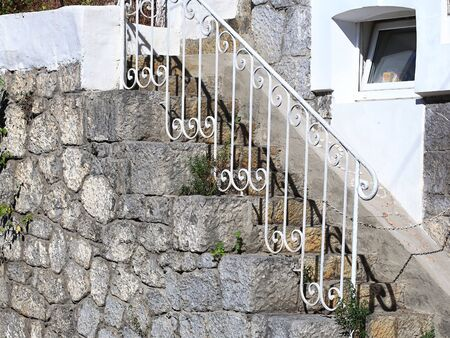 Mur D Une Vieille Maison Avec Un Escalier Exterieur En Pierre Banque