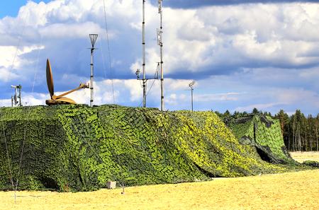 複雑なフィールド無線通信の偽装軍事オブジェクト 写真素材