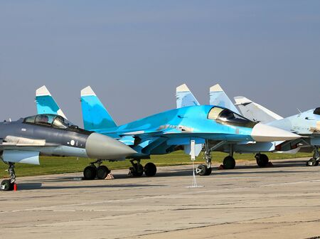 radar gun: Russian fighter jets parked at a military airbase Editorial