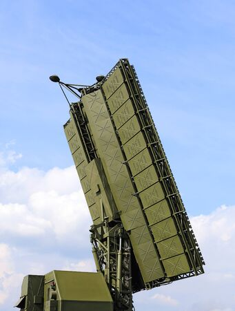 ranging: Antenna of the radar module of decimeter wave band 55ZH6M Sky-M for missile tracking Stock Photo