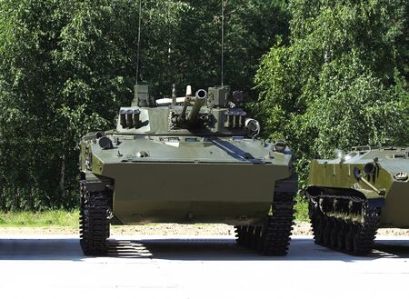 airborne vehicle: Airborne combat vehicle bmd-4  at the parking place on the military camp