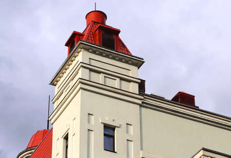 frontage: Detail of the modern building with a technical tower