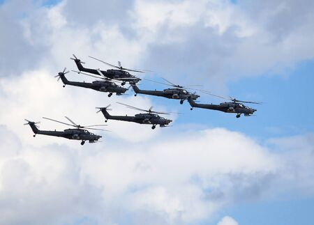 mi: Perform  flight by the modern russian attack helicopters Mi 28