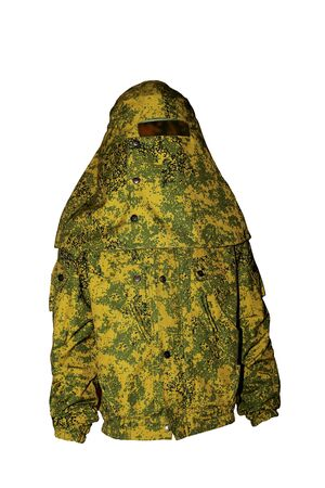 white backgroung: Special protective waterproof camouflage  clothing for rescuers on white backgroung