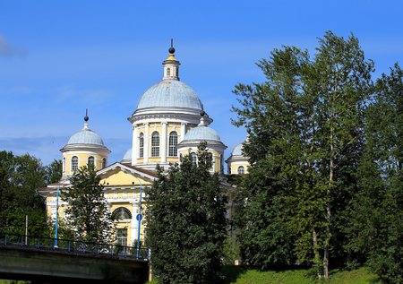 transfiguration: Transfiguration Cathedral it is a monument of religious architecture era of the Russian Empire, built on the banks of the River Tvertsa in Torzhok in 1815-22 years Stock Photo