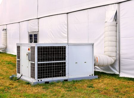temperature controller: White tent and technical support unit  at the exhibition camp